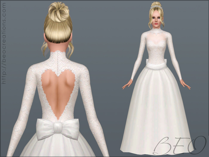 Valentine's Wedding dress for Sims 3 by BEO (2)